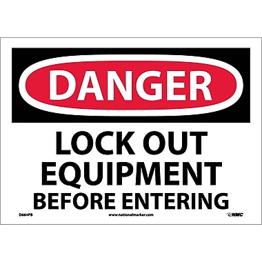 Danger, Lock Out Equipment Before Entering, 10X14, Adhesive Vinyl