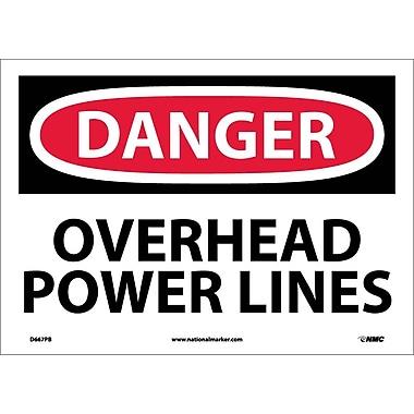 Danger, Overhead Power Lines, 10X14, Adhesive Vinyl