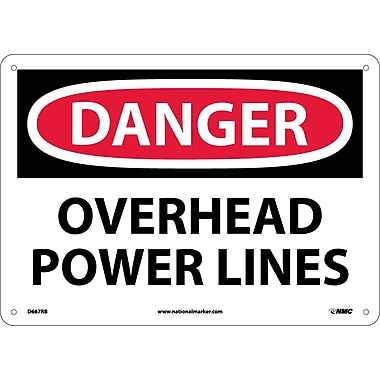 Danger, Overhead Power Lines, 10X14, Rigid Plastic