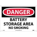 Danger, Battery Storage Area No Smoking, 10X14, .040 Aluminum