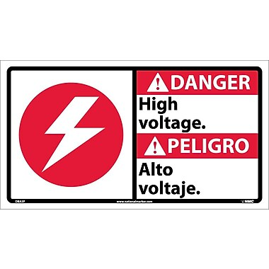 Danger, High Voltage (Bilingual W/Graphic), 10X18, Adhesive Vinyl