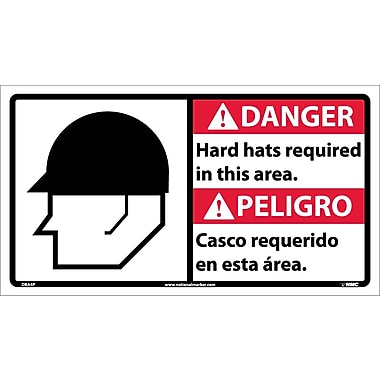 Danger, Hard Hats Required In This Area (Bilingual W/Graphic), 10X18, Adhesive Vinyl
