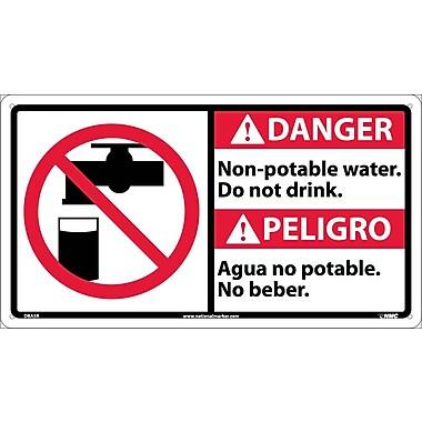Danger, Non-Potable Water Do Not Drink (Bilingual W/Graphic), 10X18, Rigid Plastic