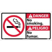 Danger, No Smoking (Bilingual W/Graphic), 10X18, Adhesive Vinyl