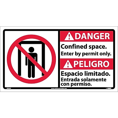 Danger, Confined Space Enter By Permit Only(Bilingual W/Graphic), 10X18, Adhesive Vinyl