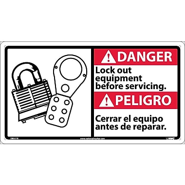 Danger, Lock Out Equipment Before Servicing (Bilingual W/Graphic), 10X18, Rigid Plastic
