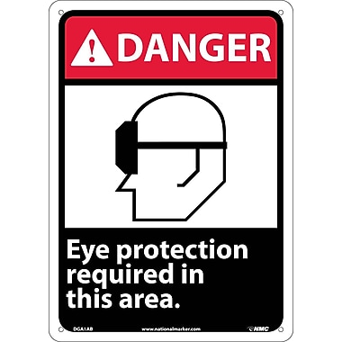 Danger, Eye Protection Required In This Area (W/Graphic), 14X10, .040 Aluminum