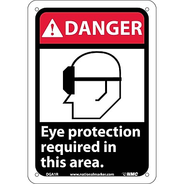Danger, Eye Protection Required In This Area (W/Graphic), 10X7, Rigid Plastic