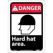 Danger, Hard Hat Area (W/Graphic), 10X7, Rigid Plastic