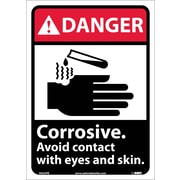Danger, Corrosive Avoid Contact With Eyes And Skin (W/Graphic), 14X10, Adhesive Vinyl