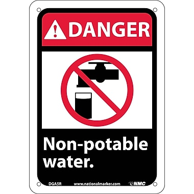 Danger, Non-Potable Water (W/Graphic), 10X7, Rigid Plastic
