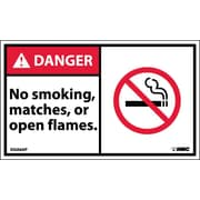 Labels - Danger, No Smoking Matches Or Open Flames (Graphic), 3X5, Adhesive Vinyl, 5/Pk