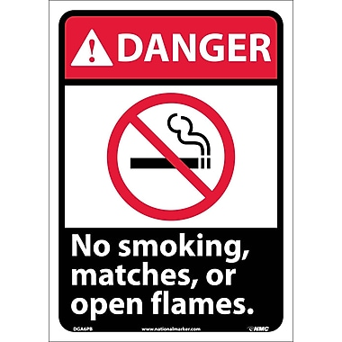 Danger, No Smoking Matches Or Open Flames (W/Graphic), 14X10, Adhesive Vinyl