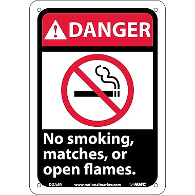 Danger, No Smoking Matches Or Open Flames with Graphic, 10
