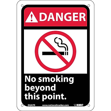 Danger, No Smoking Beyond This Point (W/Graphic), 10X7, Rigid Plastic