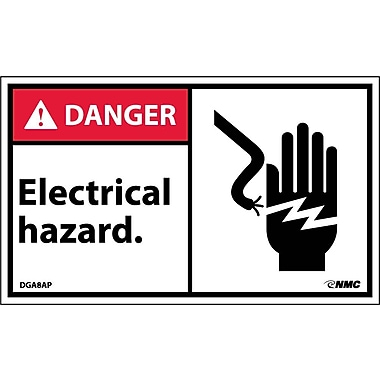 Labels - Danger, Electrical Hazard (Graphic), 3X5, Adhesive Vinyl, 5/Pk