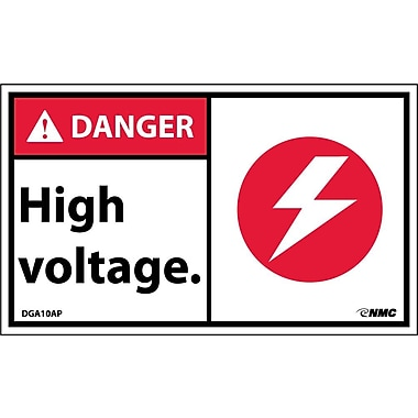 Labels - Danger, High Voltage (Graphic), 3X5, Adhesive Vinyl, 5/Pk