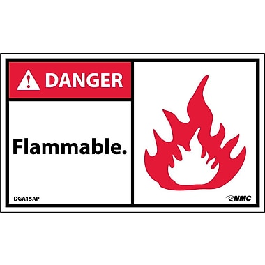 Labels - Danger, Flammable (Graphic), 3X5, Adhesive Vinyl, 5/Pk