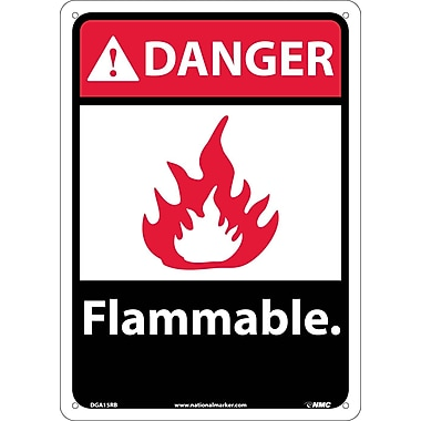 Danger, Flammable (W/Graphic), 14X10, Rigid Plastic