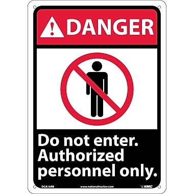 Danger, Do Not Enter Authorized Personnel Only (W/Graphic), 14X10, Rigid Plastic