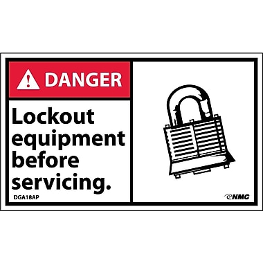 Labels - Danger, Lockout Equipment Before Servicing (Graphic), 3X5, Adhesive Vinyl, 5/Pk