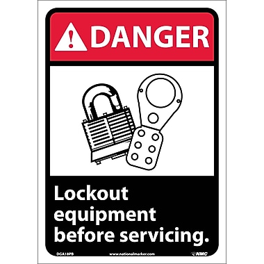 Danger, Lock Out Equipment Before Servicing with Graphic, 14