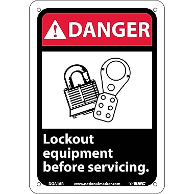 Danger, Lock Out Equipment Before Servicing with Graphic, 10