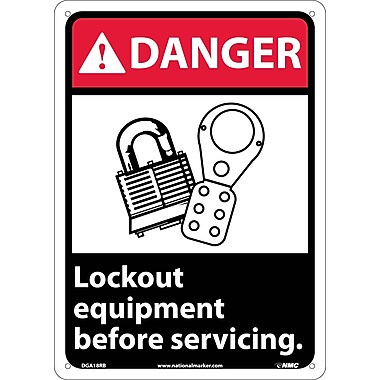 Danger, Lock Out Equipment Before Servicing (W/Graphic), 14X10, Rigid Plastic