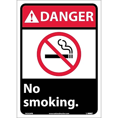Danger, No Smoking (W/Graphic), 14X10, Adhesive Vinyl