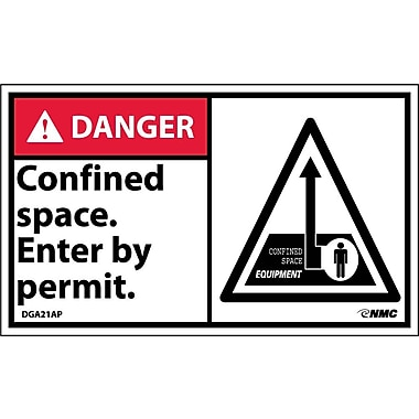 Labels Danger, Confined Space Enter By Permit Graphic, 3