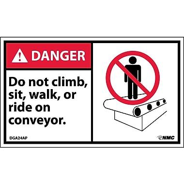 Labels - Danger, Do Not Climb Sit Walk Or Ride On Conveyor (Graphic), 3X5, Adhesive Vinyl, 5/Pk