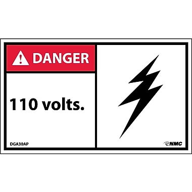 Labels ANSI Danger, 110 Volts, 3