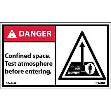 Labels Danger, Confined Space Test Atmosphere Before Entering, 3