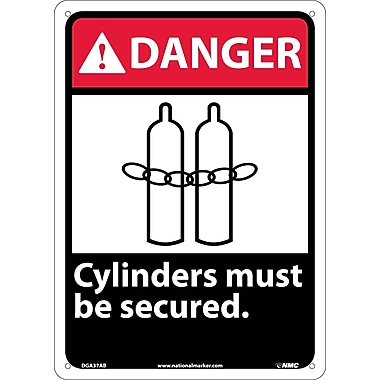Danger, Cylinders Must Be Secured, 14X10, .040 Aluminum