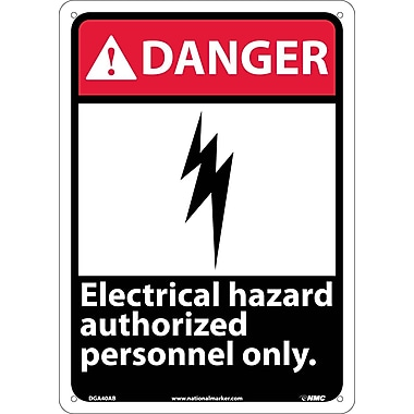 Danger, Electrical Hazard Authorized Personnel Only, 14X10, .040 Aluminum