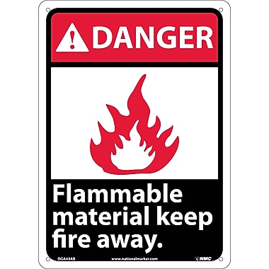 Danger, Flammable Material Keep Fire Away, 14X10, .040 Aluminum