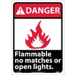 Danger, Flammable No Matches Or Open Lights, 14X10, Rigid Plastic