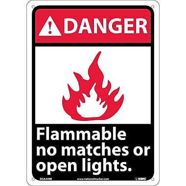 Danger, Flammable No Matches Or Open Lights, 14X10, Rigid Plastic