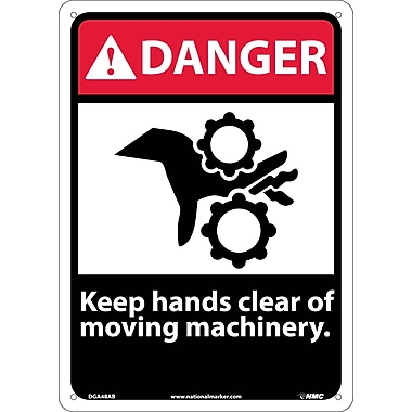 Danger, Keep Hands Clear Of Moving Machinery, 14X10, .040 Aluminum