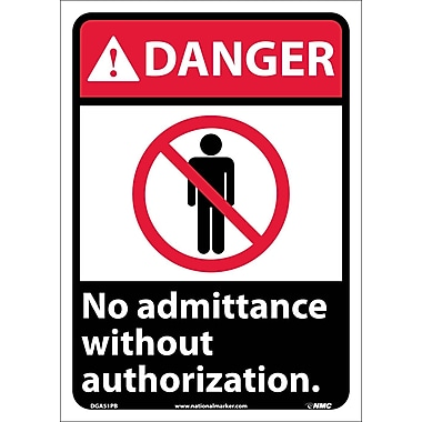 Danger, No Admittance Without Authorization, 14X10, Adhesive Vinyl