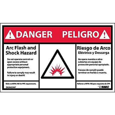 Labels danger arc flash hazard bilingual graphic for How to read arc flash labels