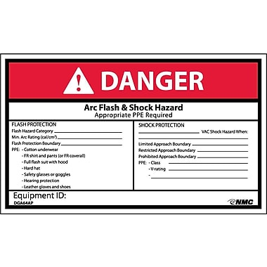 Labels - Danger, Arc Flash & Shock Hazard, 3X5, Adhesive Vinyl, 5/Pk