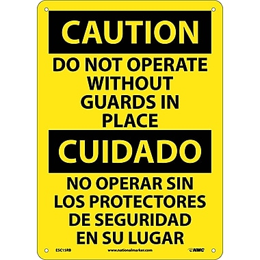 Caution, Do Not Operate Without Guards In Place (Bilingual), 14X10, Rigid Plastic