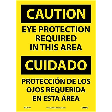 Caution, Eye Protection Required In This Area (Bilingual), 14X10, Adhesive Vinyl