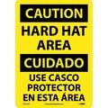 Caution, Hard Hat Area Bilingual, 14X10, .040 Aluminum
