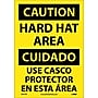 Caution, Hard Hat Area Bilingual, 14X10, Adhesive Vinyl