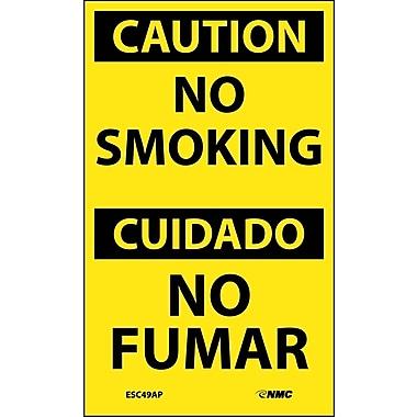 Labels - Caution, No Smoking Bilingual, 5X3, Adhesive Vinyl, 5/Pk