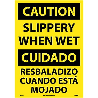 Caution, Slippery When Wet (Bilingual), 20X14, Adhesive Vinyl