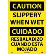Caution, Slippery When Wet (Bilingual), 20X14, Rigid Plastic