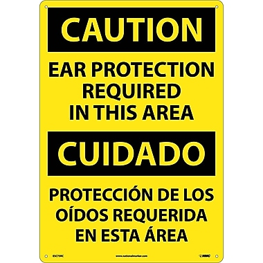 Caution, Ear Protection Required In This Area (Bilingual), 20X14, Rigid Plastic